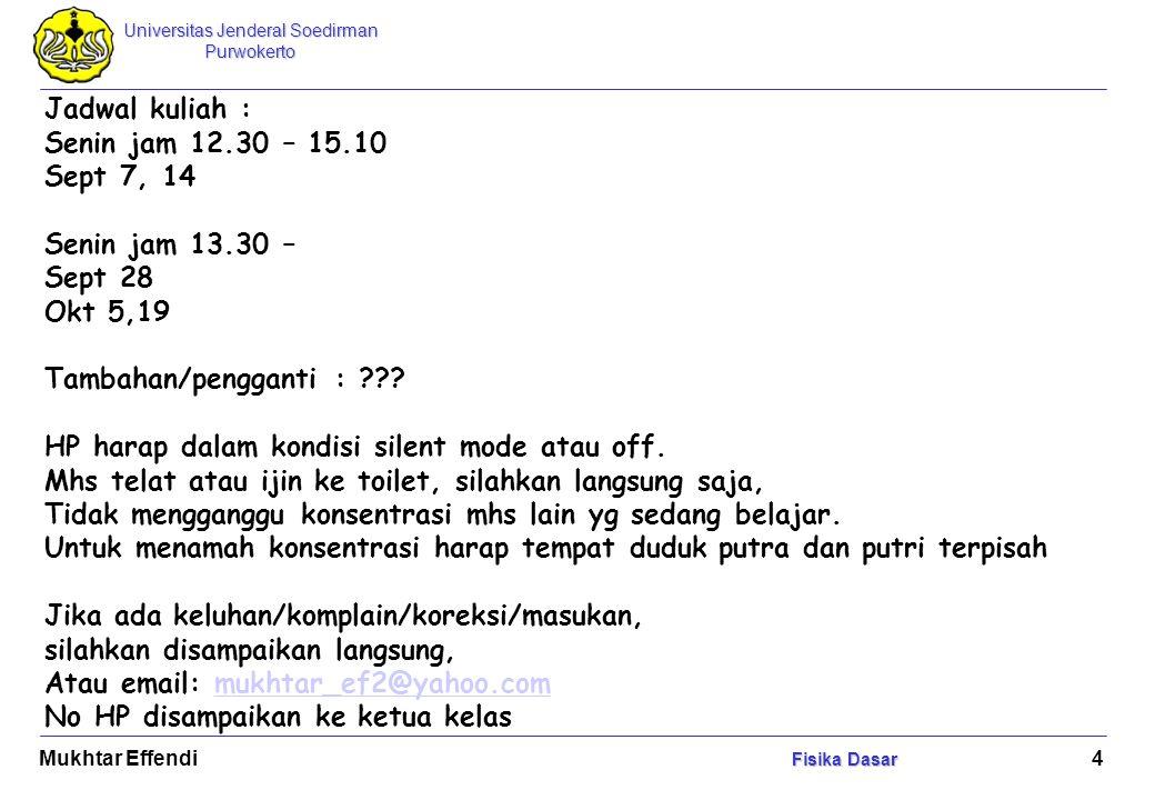 Universitas Jenderal Soedirman Purwokerto Fisika Dasar Mukhtar Effendi Fisika Dasar 5 Arti Fisika: Ilmu yang mempelajari alam dan menyatakannya dengan besaran2 fisis.