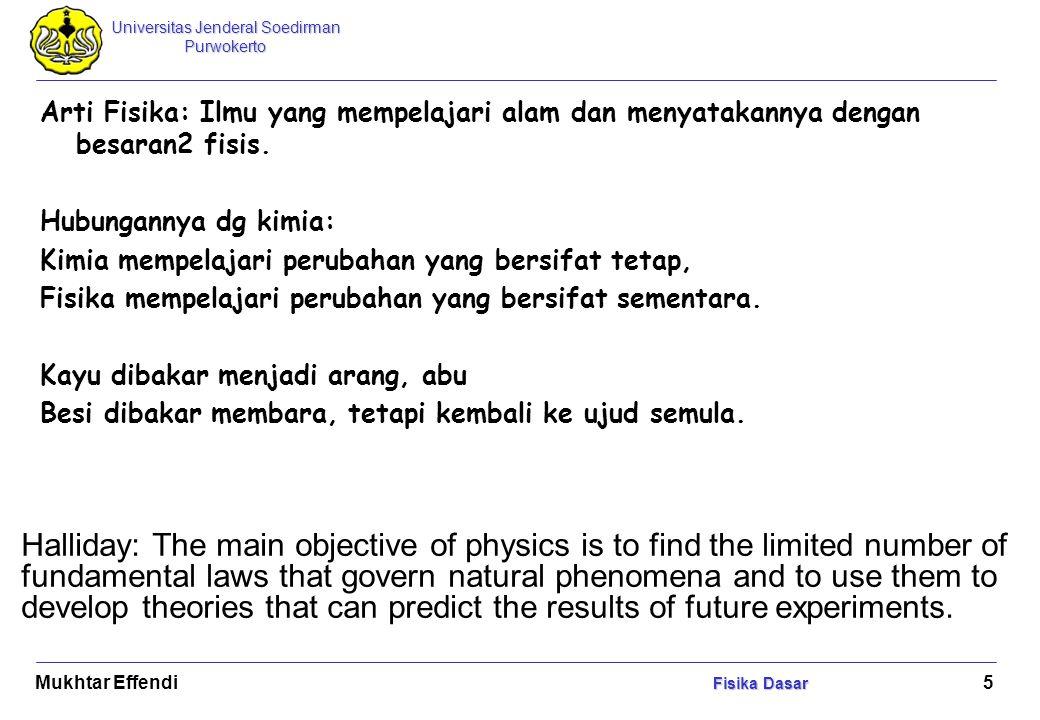 Universitas Jenderal Soedirman Purwokerto Fisika Dasar Mukhtar Effendi Fisika Dasar 6 GBPP Konsep dasar mekanika dan termodinamika Besaran dan satuan Vektor Kinematika dan dinamika pertikel Kerja dan Energi Gerak Rotasi Mekanika Fluida Termodinamika Getaran Gelombang dan Optika Kelistrikan Resnick dan Halliday, 1983, Fisika terjemahan P Silaban dan E Sucipto, Erlangga, Jakarta.