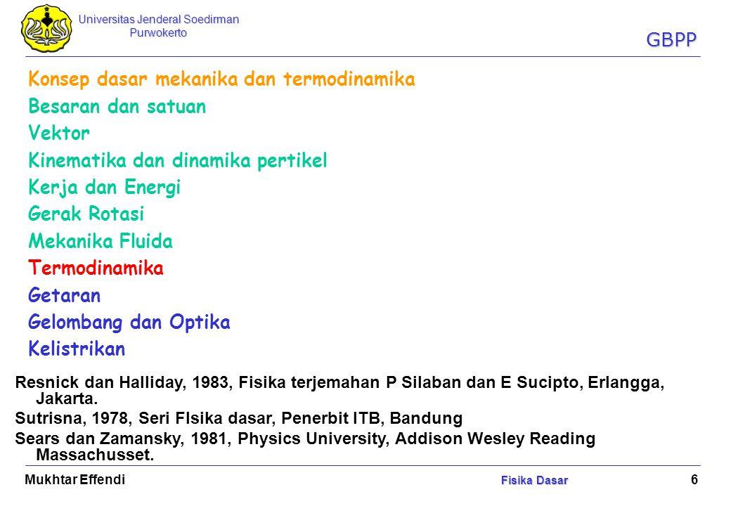 Universitas Jenderal Soedirman Purwokerto Fisika Dasar Mukhtar Effendi Fisika Dasar 7 FISIKA DASAR (PAK 1001)