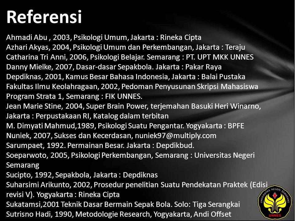 Referensi Ahmadi Abu, 2003, Psikologi Umum, Jakarta : Rineka Cipta Azhari Akyas, 2004, Psikologi Umum dan Perkembangan, Jakarta : Teraju Catharina Tri