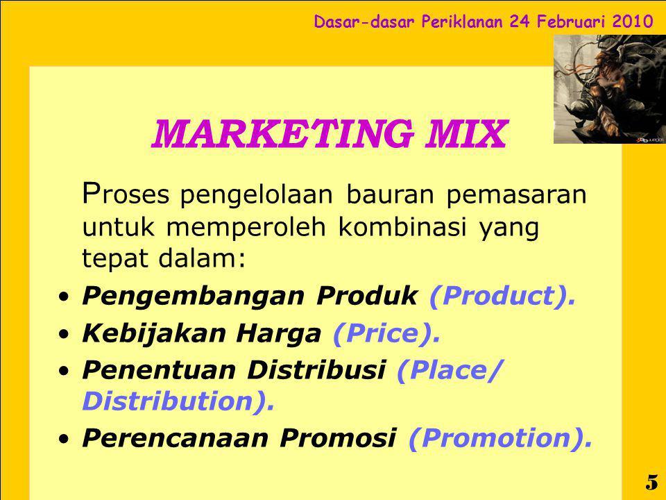Dasar-dasar Periklanan 24 Februari 2010 6 Bauran Promosi PROMOTION MIX Advertising Sales Promotion Publicity/Public Relations Personal Selling Direct Marketing Internet Marketing