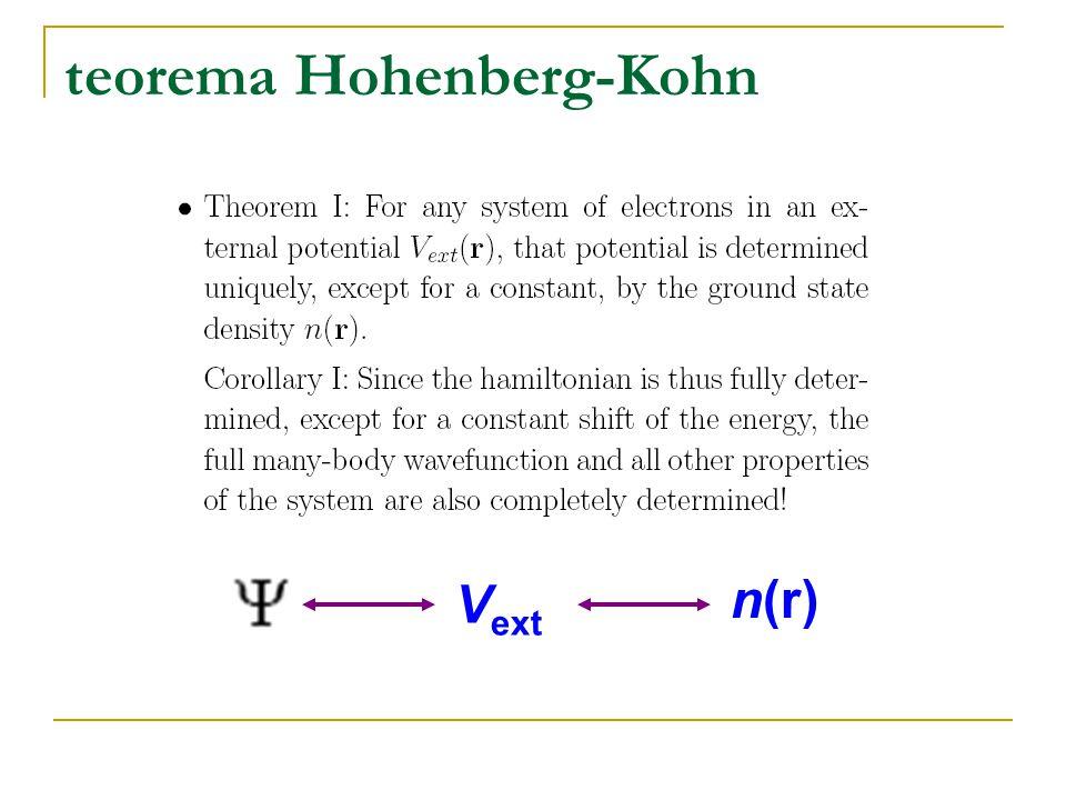 teorema Hohenberg-Kohn V ext n(r)