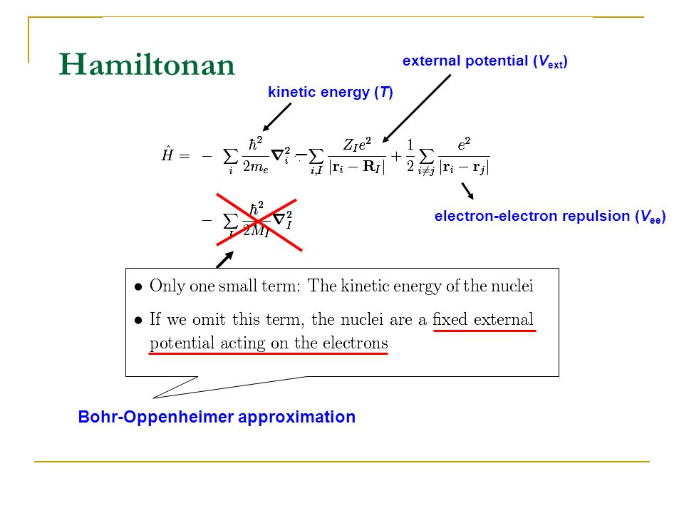 Hamiltonan Bohr-Oppenheimer approximation kinetic energy (T) electron-electron repulsion (V ee ) external potential (V ext )
