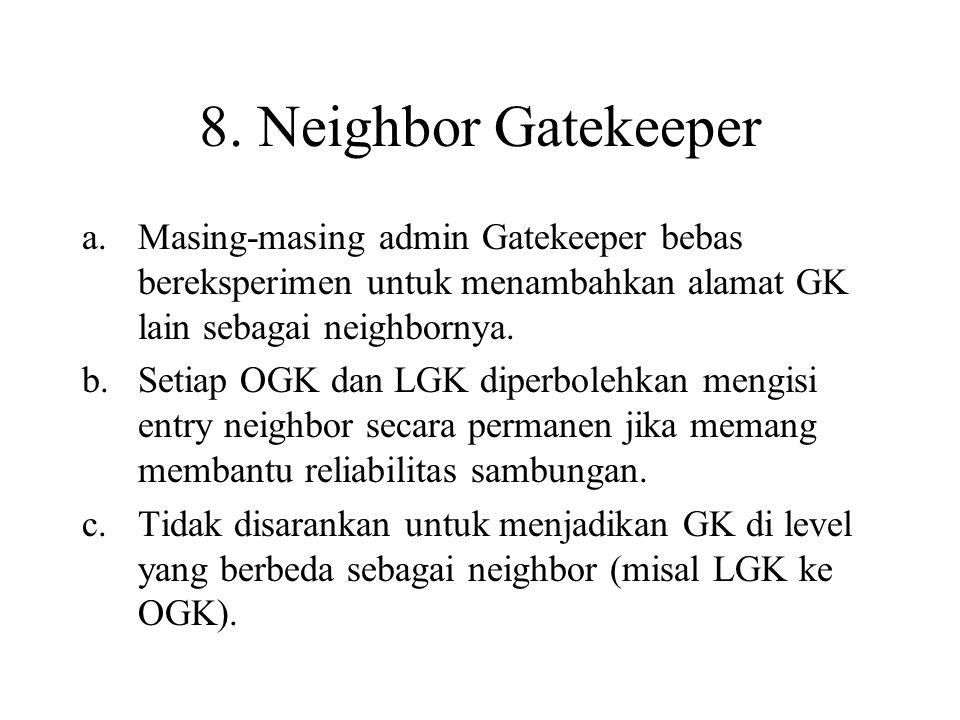 8. Neighbor Gatekeeper a.Masing-masing admin Gatekeeper bebas bereksperimen untuk menambahkan alamat GK lain sebagai neighbornya. b.Setiap OGK dan LGK