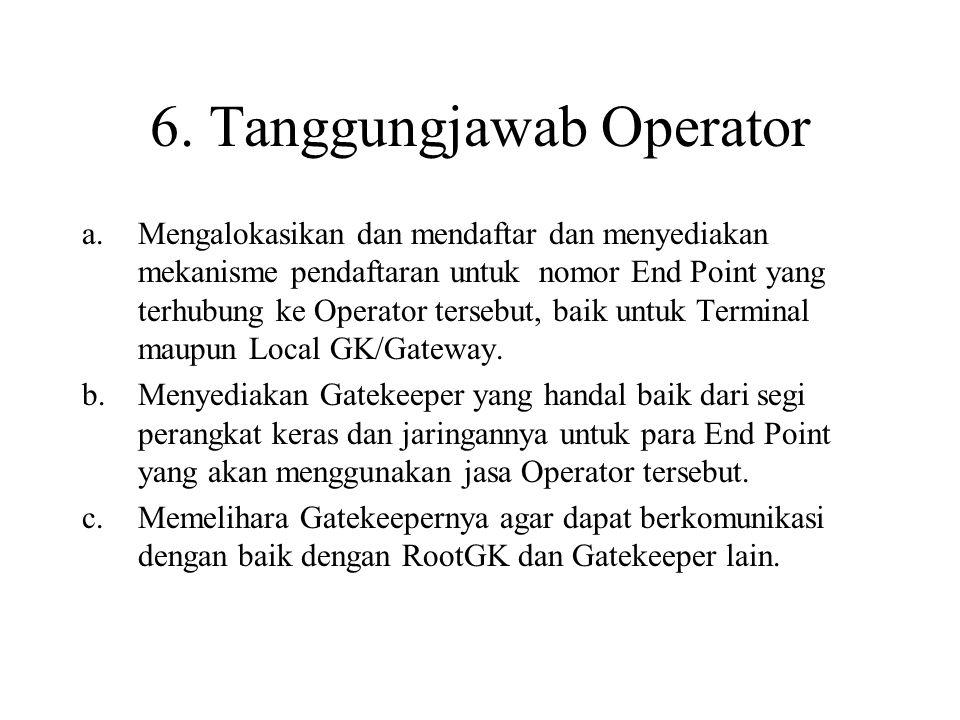6. Tanggungjawab Operator a.Mengalokasikan dan mendaftar dan menyediakan mekanisme pendaftaran untuk nomor End Point yang terhubung ke Operator terseb