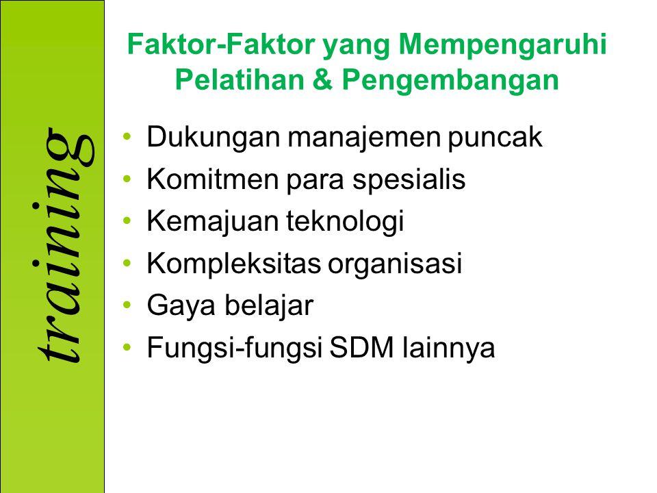 training Faktor-Faktor yang Mempengaruhi Pelatihan & Pengembangan Dukungan manajemen puncak Komitmen para spesialis Kemajuan teknologi Kompleksitas organisasi Gaya belajar Fungsi-fungsi SDM lainnya