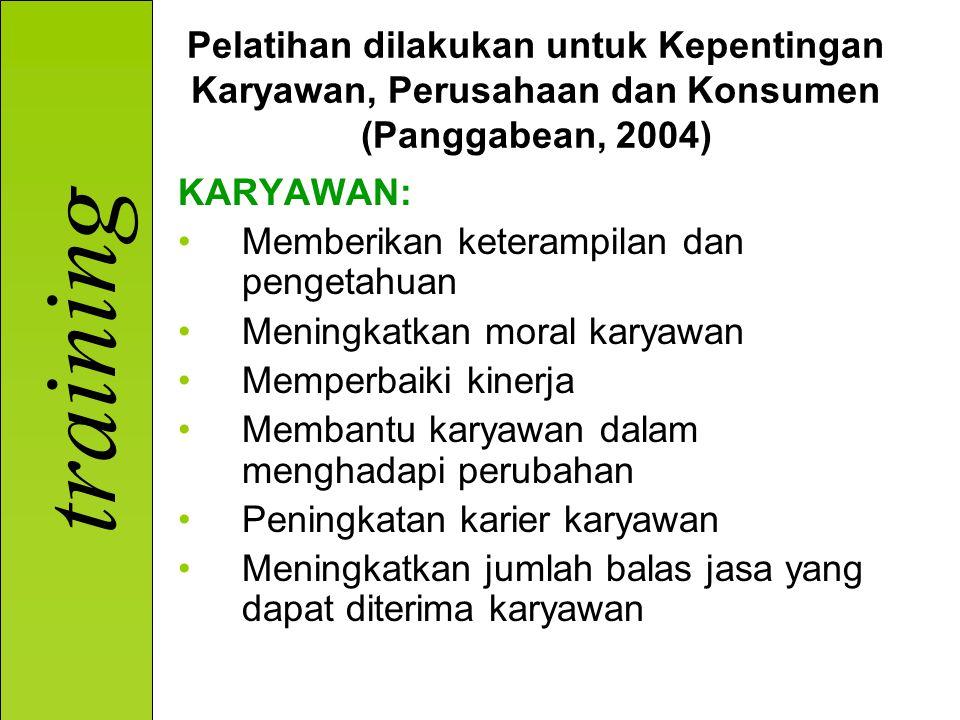 training Pelatihan dilakukan untuk Kepentingan Karyawan, Perusahaan dan Konsumen (Panggabean, 2004) KARYAWAN: Memberikan keterampilan dan pengetahuan