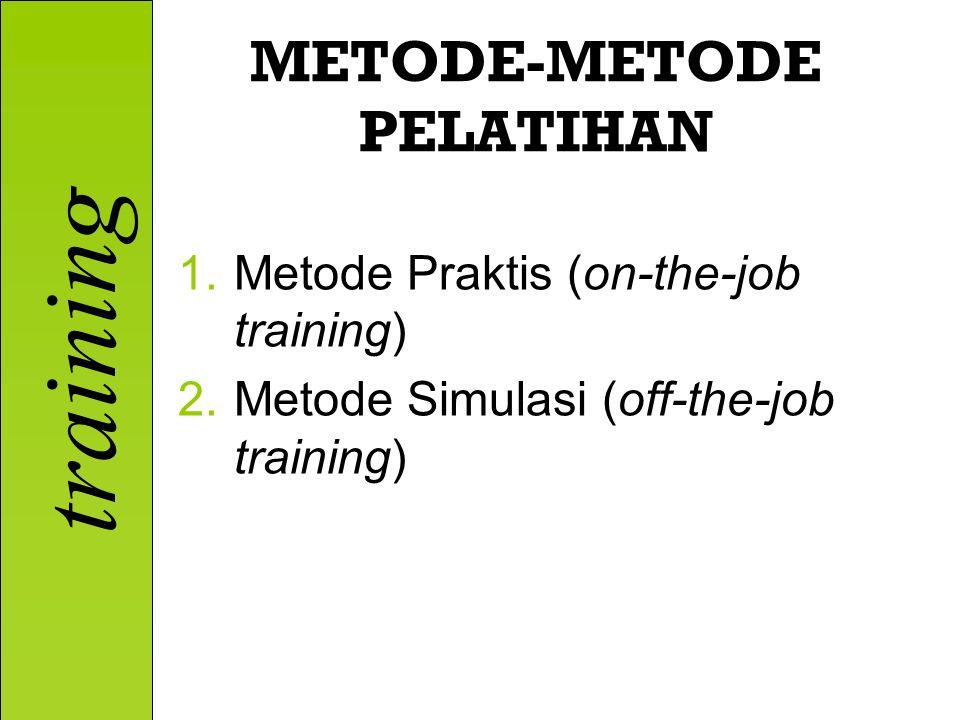 training METODE-METODE PELATIHAN 1.Metode Praktis (on-the-job training) 2.Metode Simulasi (off-the-job training)