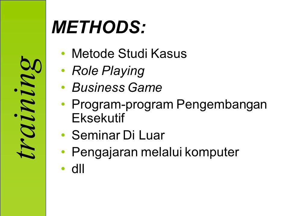 training Metode Studi Kasus Role Playing Business Game Program-program Pengembangan Eksekutif Seminar Di Luar Pengajaran melalui komputer dll METHODS: