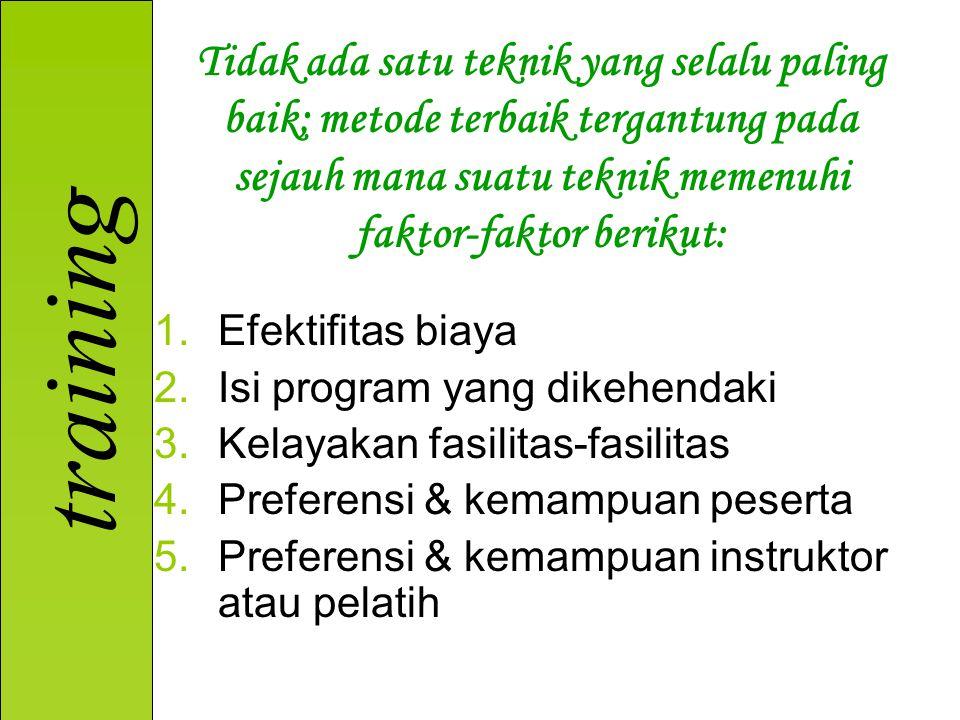 training 1.Efektifitas biaya 2.Isi program yang dikehendaki 3.Kelayakan fasilitas-fasilitas 4.Preferensi & kemampuan peserta 5.Preferensi & kemampuan