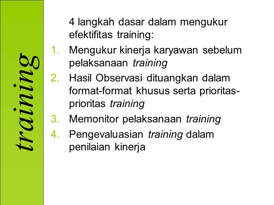training 4 langkah dasar dalam mengukur efektifitas training: 1.Mengukur kinerja karyawan sebelum pelaksanaan training 2.Hasil Observasi dituangkan dalam format-format khusus serta prioritas- prioritas training 3.Memonitor pelaksanaan training 4.Pengevaluasian training dalam penilaian kinerja