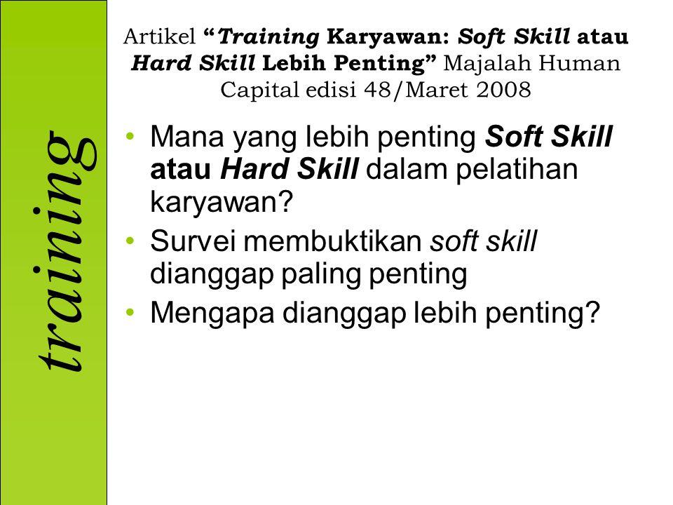 training Artikel Training Karyawan: Soft Skill atau Hard Skill Lebih Penting Majalah Human Capital edisi 48/Maret 2008 Mana yang lebih penting Soft Skill atau Hard Skill dalam pelatihan karyawan.