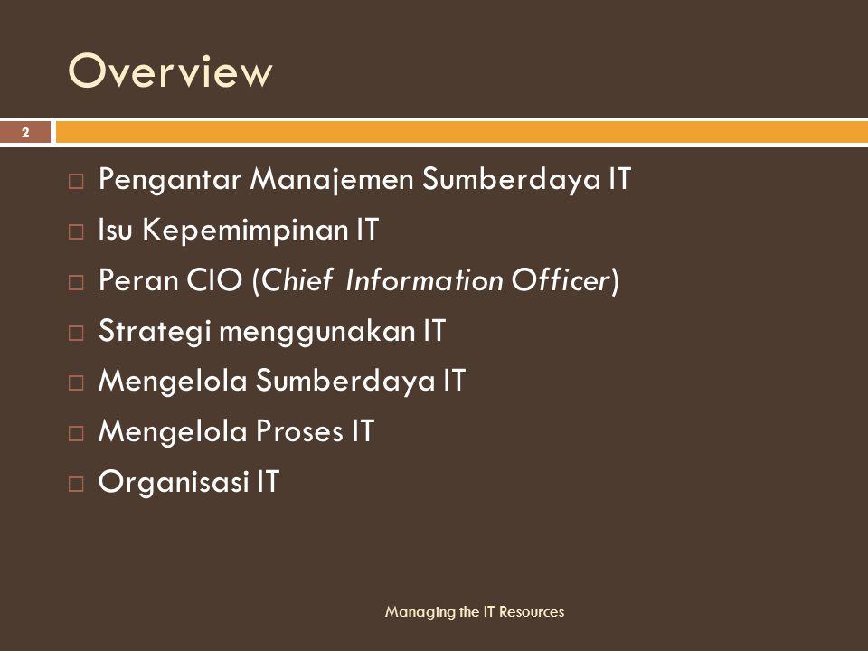 Overview  Pengantar Manajemen Sumberdaya IT  Isu Kepemimpinan IT  Peran CIO (Chief Information Officer)  Strategi menggunakan IT  Mengelola Sumberdaya IT  Mengelola Proses IT  Organisasi IT Managing the IT Resources 2