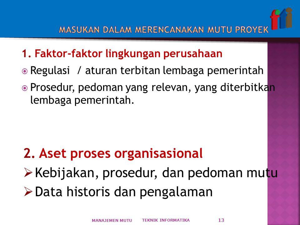 1. Faktor-faktor lingkungan perusahaan  Regulasi / aturan terbitan lembaga pemerintah  Prosedur, pedoman yang relevan, yang diterbitkan lembaga peme