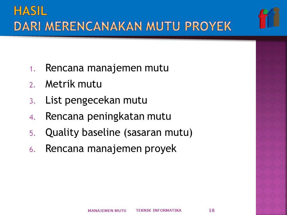 1.Rencana manajemen mutu 2. Metrik mutu 3. List pengecekan mutu 4.