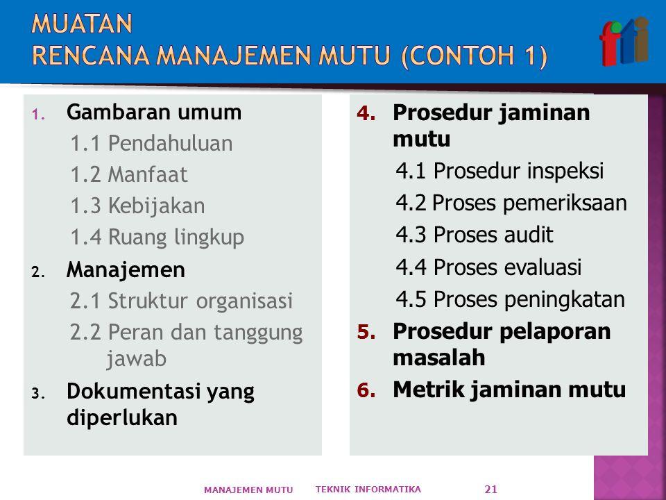 1. Gambaran umum 1.1 Pendahuluan 1.2 Manfaat 1.3 Kebijakan 1.4 Ruang lingkup 2. Manajemen 2.1 Struktur organisasi 2.2 Peran dan tanggung jawab 3. Doku