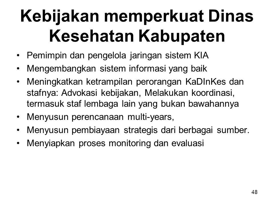 Kebijakan memperkuat Dinas Kesehatan Kabupaten Pemimpin dan pengelola jaringan sistem KIA Mengembangkan sistem informasi yang baik Meningkatkan ketram