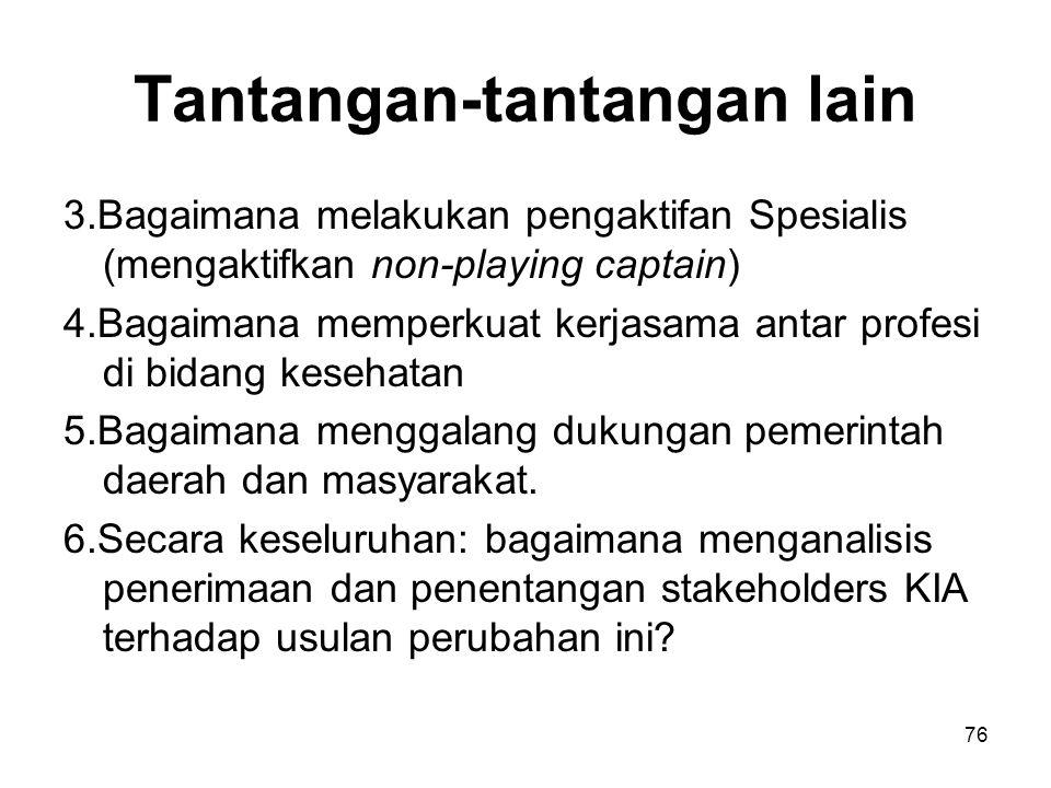 Tantangan-tantangan lain 3.Bagaimana melakukan pengaktifan Spesialis (mengaktifkan non-playing captain) 4.Bagaimana memperkuat kerjasama antar profesi