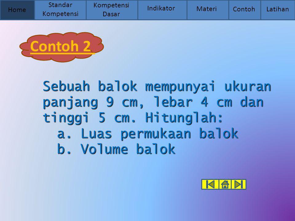Home Standar Kompetensi Kompetensi Dasar Indikator Materi Contoh Latihan Contoh 2 Sebuah balok mempunyai ukuran panjang 9 cm, lebar 4 cm dan tinggi 5