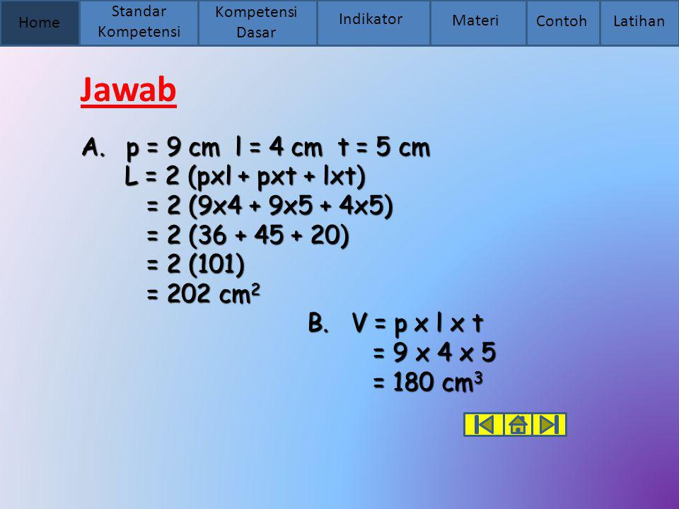 Home Standar Kompetensi Kompetensi Dasar Indikator Materi Contoh Latihan Jawab A.p = 9 cm l = 4 cm t = 5 cm L = 2 (pxl + pxt + lxt) L = 2 (pxl + pxt +