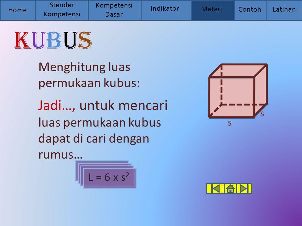 Home Standar Kompetensi Kompetensi Dasar Indikator Materi Contoh Latihan kubuskubus Menghitung luas permukaan kubus: Jadi…, untuk mencari luas permuka