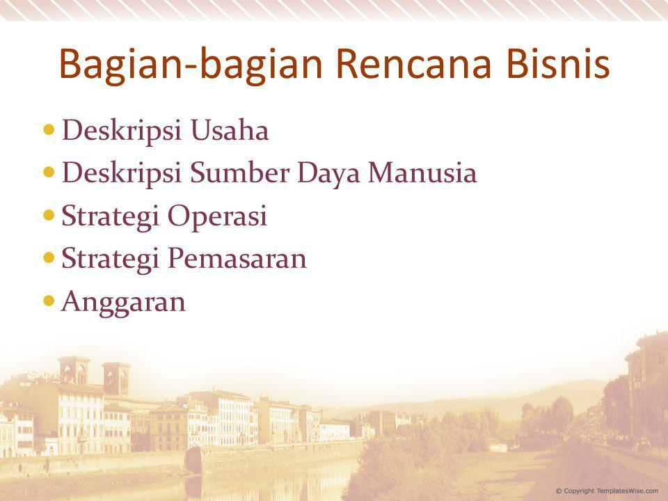 Bagian-bagian Rencana Bisnis Deskripsi Usaha Deskripsi Sumber Daya Manusia Strategi Operasi Strategi Pemasaran Anggaran