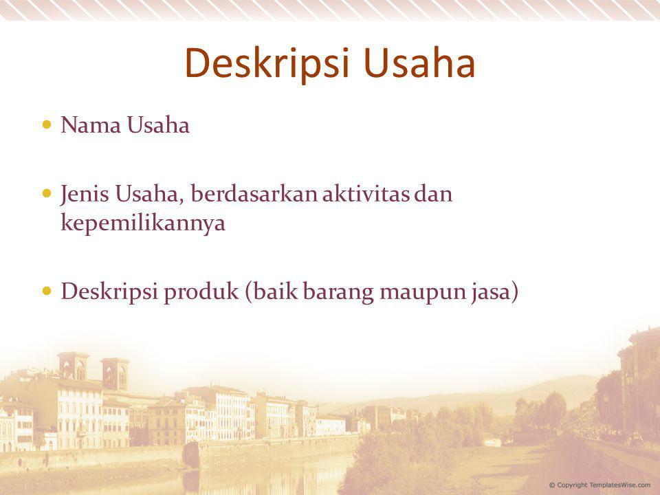 Deskripsi Usaha Nama Usaha Jenis Usaha, berdasarkan aktivitas dan kepemilikannya Deskripsi produk (baik barang maupun jasa)