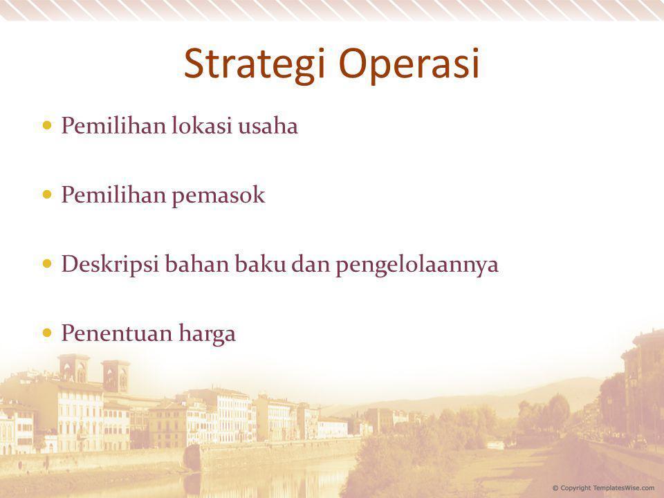 Strategi Operasi Pemilihan lokasi usaha Pemilihan pemasok Deskripsi bahan baku dan pengelolaannya Penentuan harga
