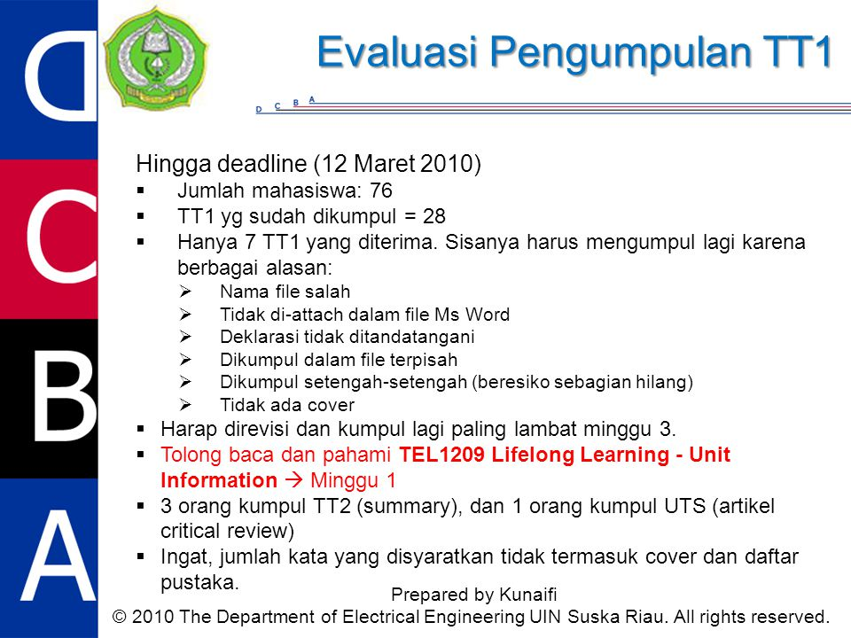 Hingga deadline (12 Maret 2010)  Jumlah mahasiswa: 76  TT1 yg sudah dikumpul = 28  Hanya 7 TT1 yang diterima.