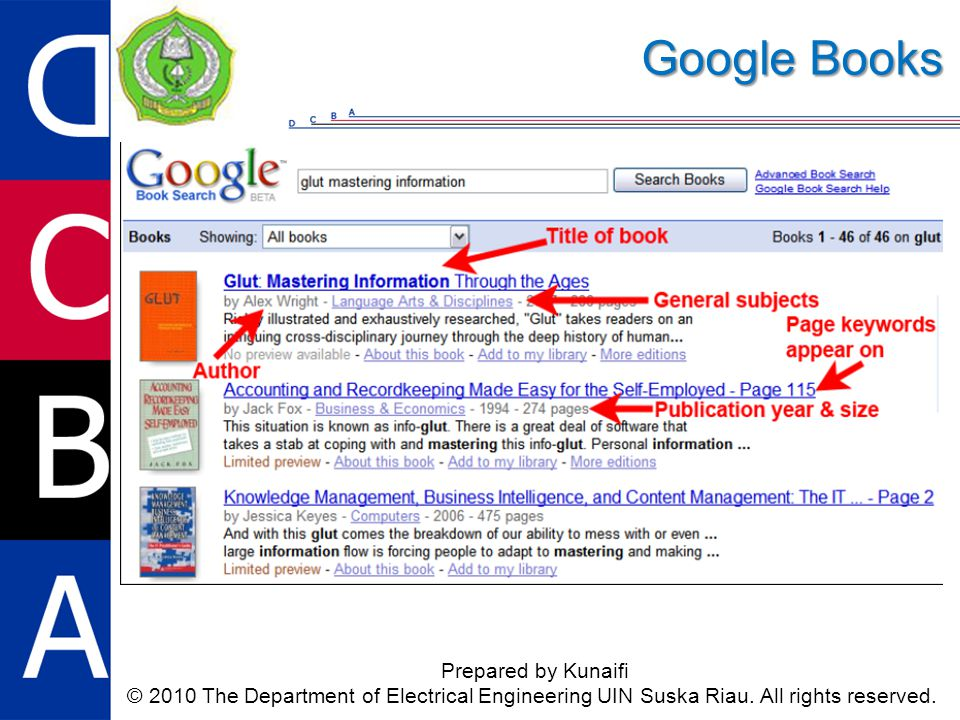 Google Books Prepared by Kunaifi © 2010 The Department of Electrical Engineering UIN Suska Riau.