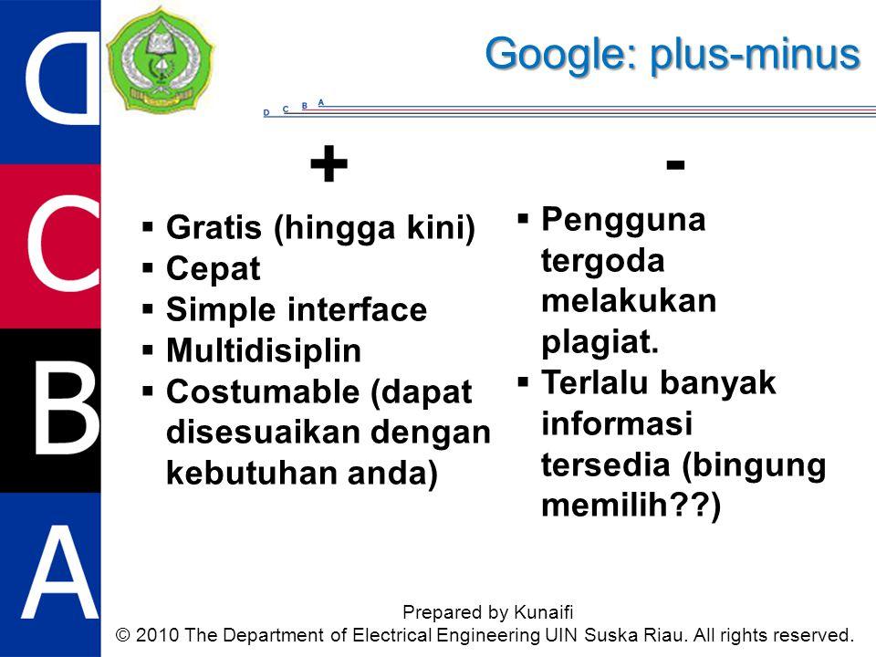 +  Gratis (hingga kini)  Cepat  Simple interface  Multidisiplin  Costumable (dapat disesuaikan dengan kebutuhan anda) Google: plus-minus Prepared