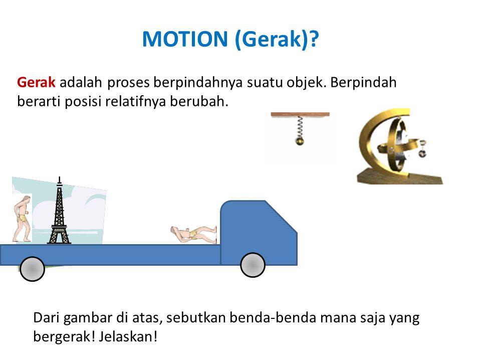 MOTION (Gerak)? Gerak adalah proses berpindahnya suatu objek. Berpindah berarti posisi relatifnya berubah. Dari gambar di atas, sebutkan benda-benda m