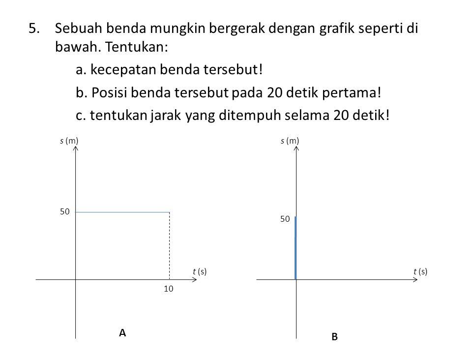 5.Sebuah benda mungkin bergerak dengan grafik seperti di bawah. Tentukan: a. kecepatan benda tersebut! b. Posisi benda tersebut pada 20 detik pertama!
