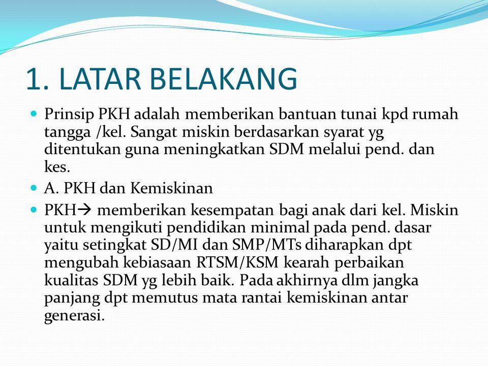 1. LATAR BELAKANG Prinsip PKH adalah memberikan bantuan tunai kpd rumah tangga /kel. Sangat miskin berdasarkan syarat yg ditentukan guna meningkatkan