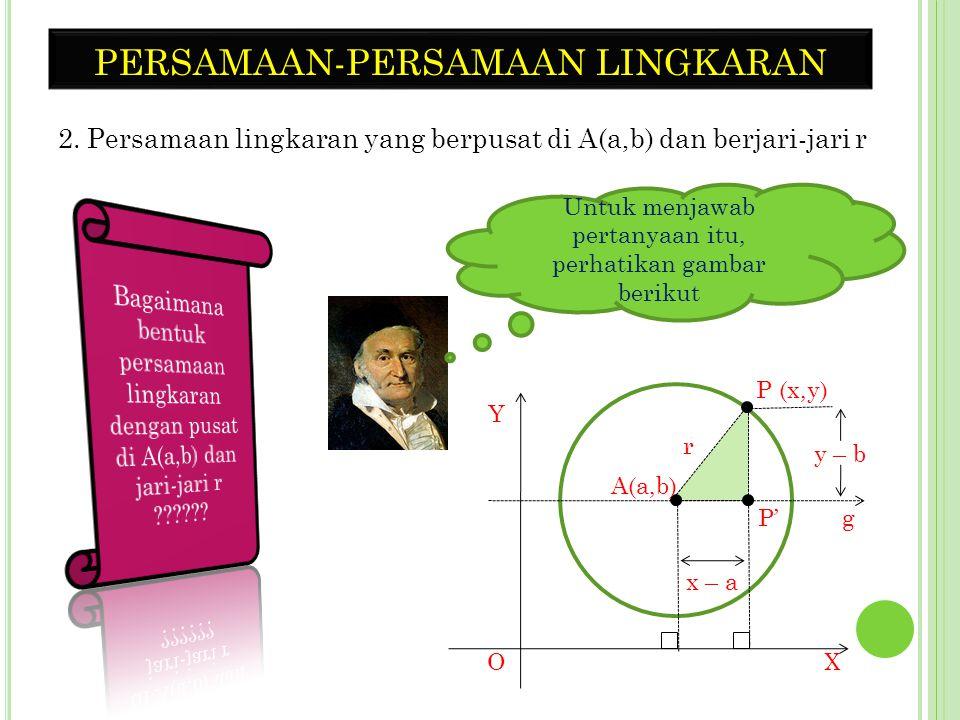 CONTOH 1. Sebuah lingkaran dengan titik pusat di O a. tentukan persamaan lingkaran yang berjari-jari r = 5 b. gambarlah lingkaran pada soal a c. pada