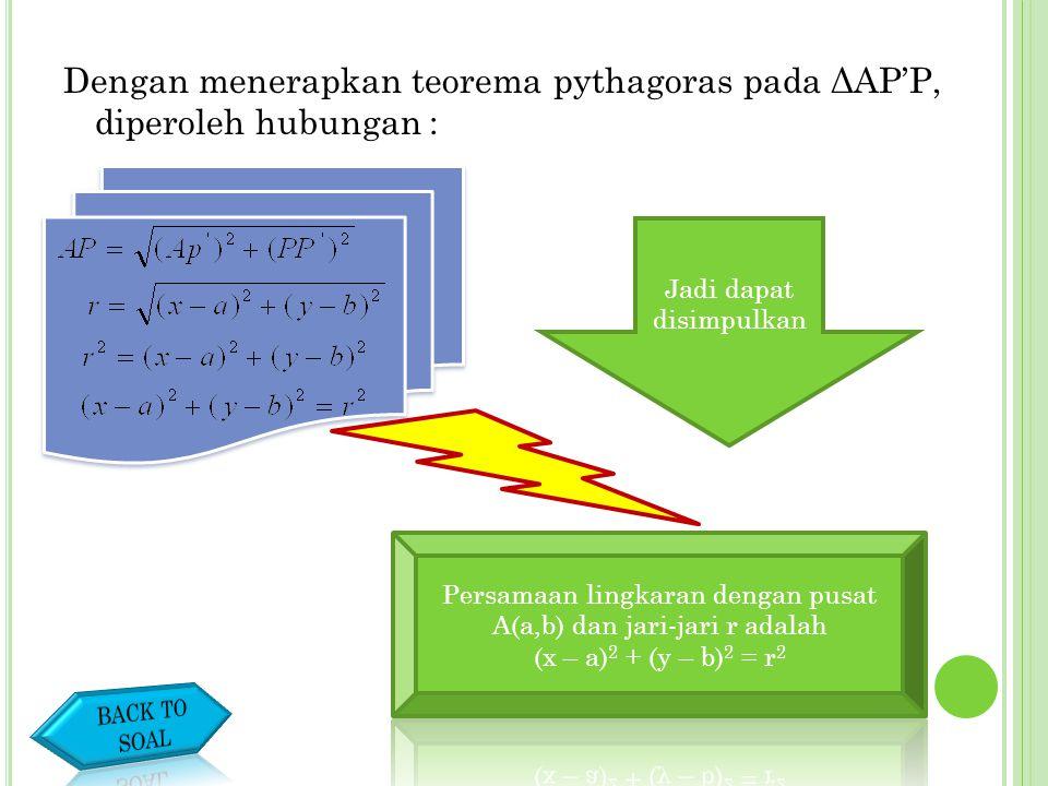 2. Persamaan lingkaran yang berpusat di A(a,b) dan berjari-jari r PERSAMAAN-PERSAMAAN LINGKARAN Untuk menjawab pertanyaan itu, perhatikan gambar berik