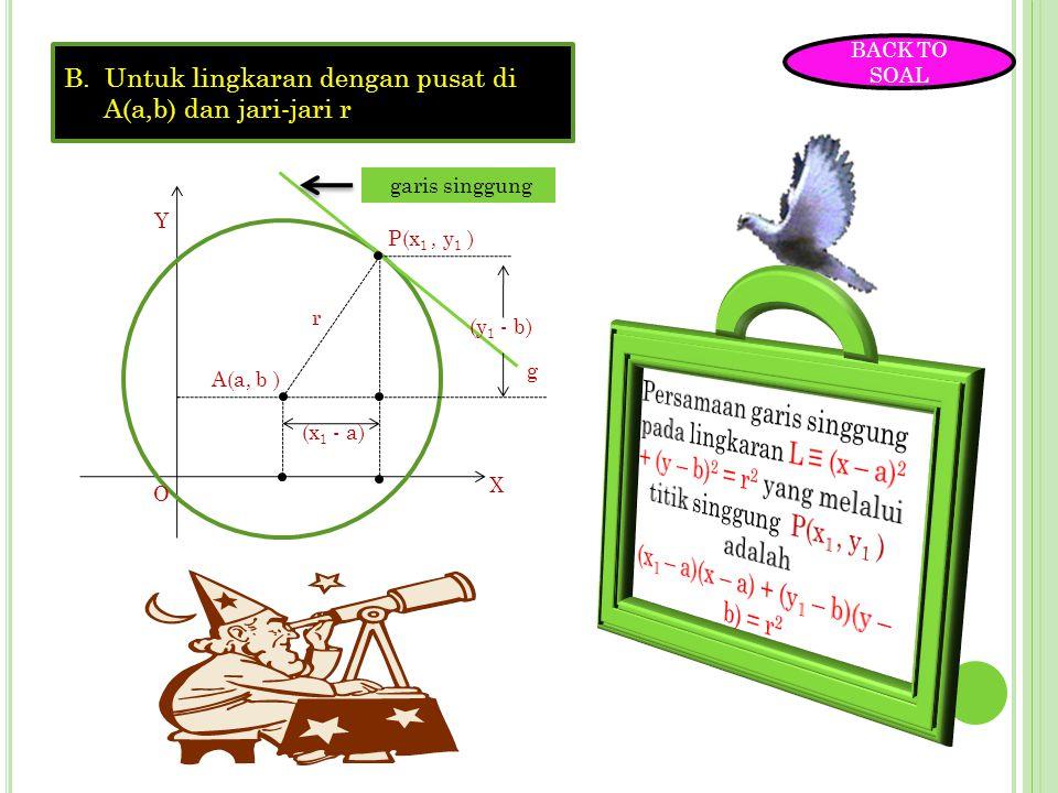 P ERSAMAAN GARIS SINGGUNG LINGKARAN 1. Persamaan garis singgung lingkaran yang melalui sebuah titik pada lingkaran A.Untuk lingkaran dengan pusat di O