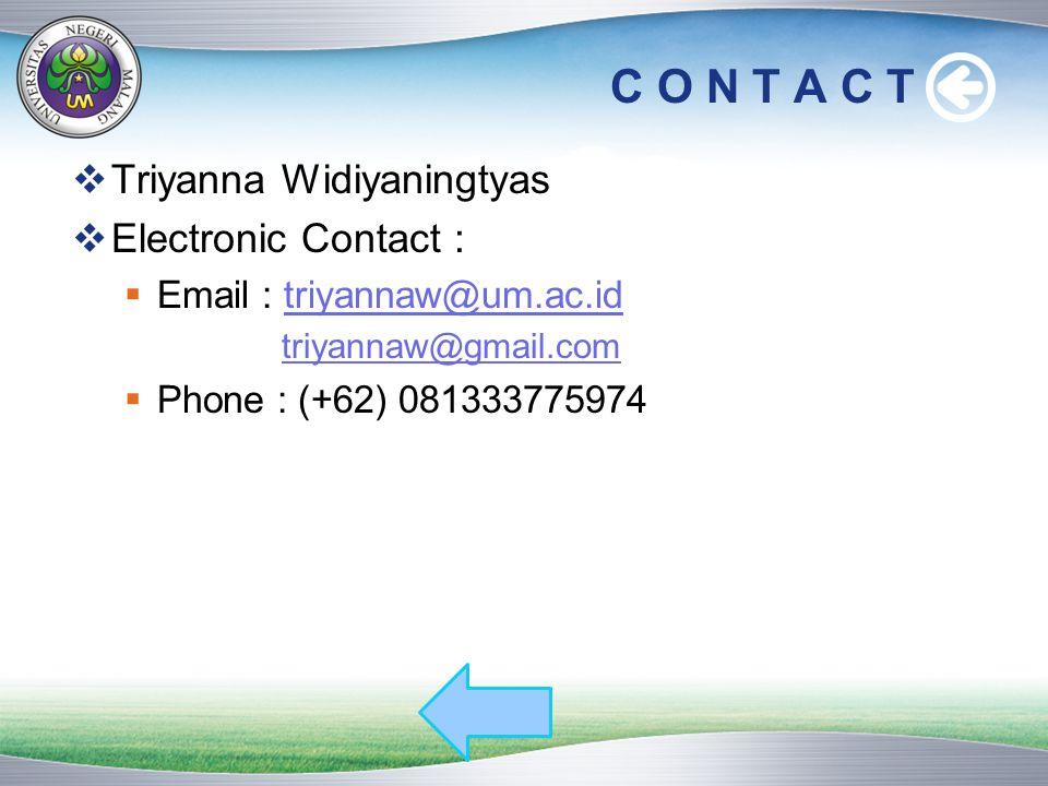 C O N T A C T  Triyanna Widiyaningtyas  Electronic Contact :  Email : triyannaw@um.ac.idtriyannaw@um.ac.id triyannaw@gmail.com  Phone : (+62) 0813