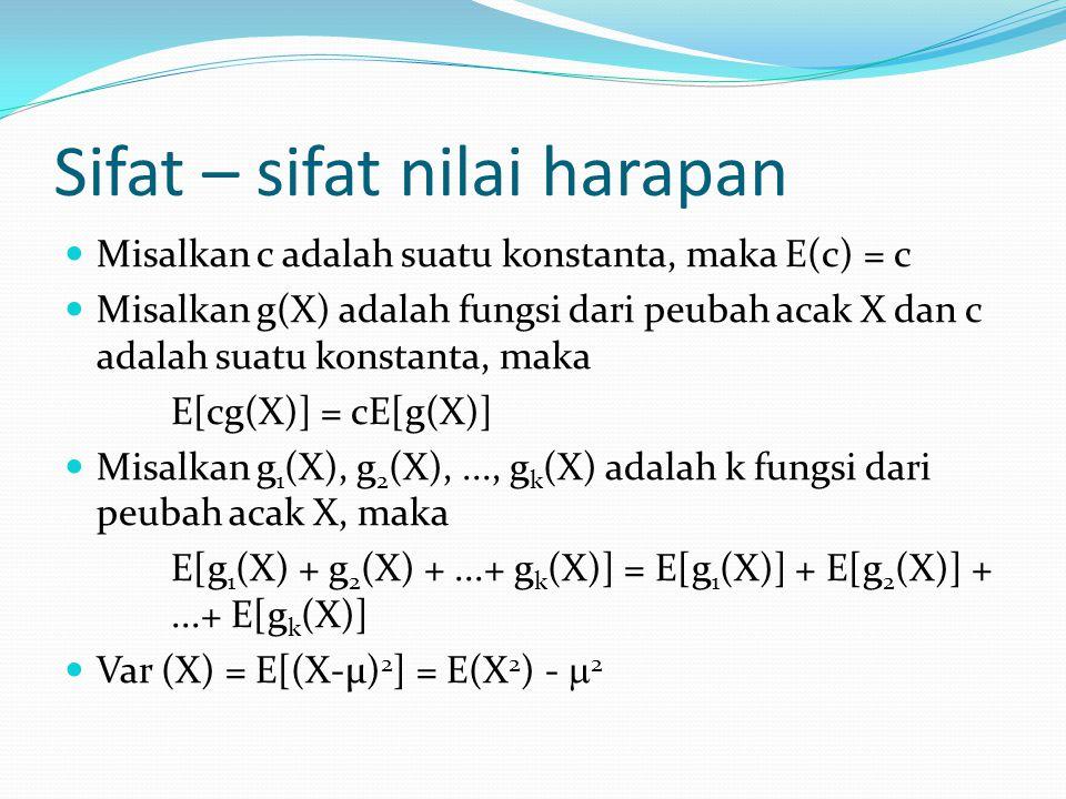 Sifat – sifat nilai harapan Misalkan c adalah suatu konstanta, maka E(c) = c Misalkan g(X) adalah fungsi dari peubah acak X dan c adalah suatu konstan