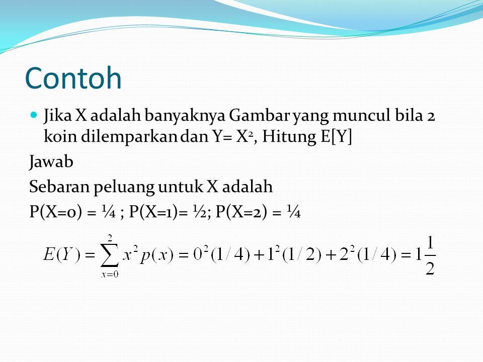 Contoh Bila diketahui sebaran peluang peubah acak Y adalah sebagai berikut Hitung E(Y), E(1/Y) dan E(Y 2 -1).