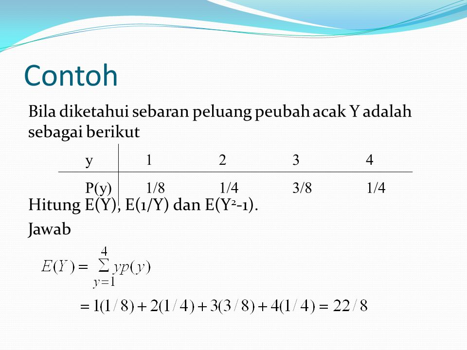 Contoh Bila diketahui sebaran peluang peubah acak Y adalah sebagai berikut Hitung E(Y), E(1/Y) dan E(Y 2 -1). Jawab y1234 P(y)1/81/43/81/4