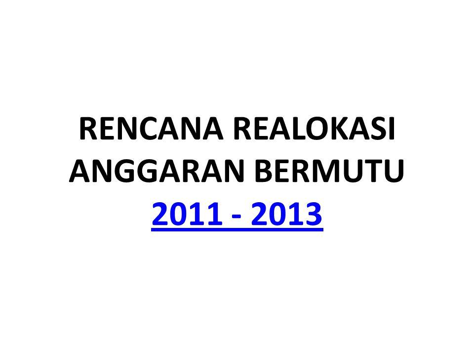 RENCANA REALOKASI ANGGARAN BERMUTU 2011 - 2013 2011 - 2013