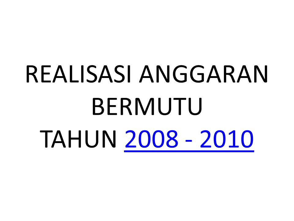 REALISASI ANGGARAN BERMUTU TAHUN 2008 - 20102008 - 2010