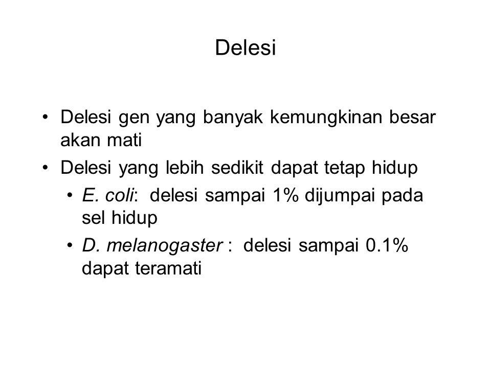 Delesi Delesi gen yang banyak kemungkinan besar akan mati Delesi yang lebih sedikit dapat tetap hidup E. coli: delesi sampai 1% dijumpai pada sel hidu