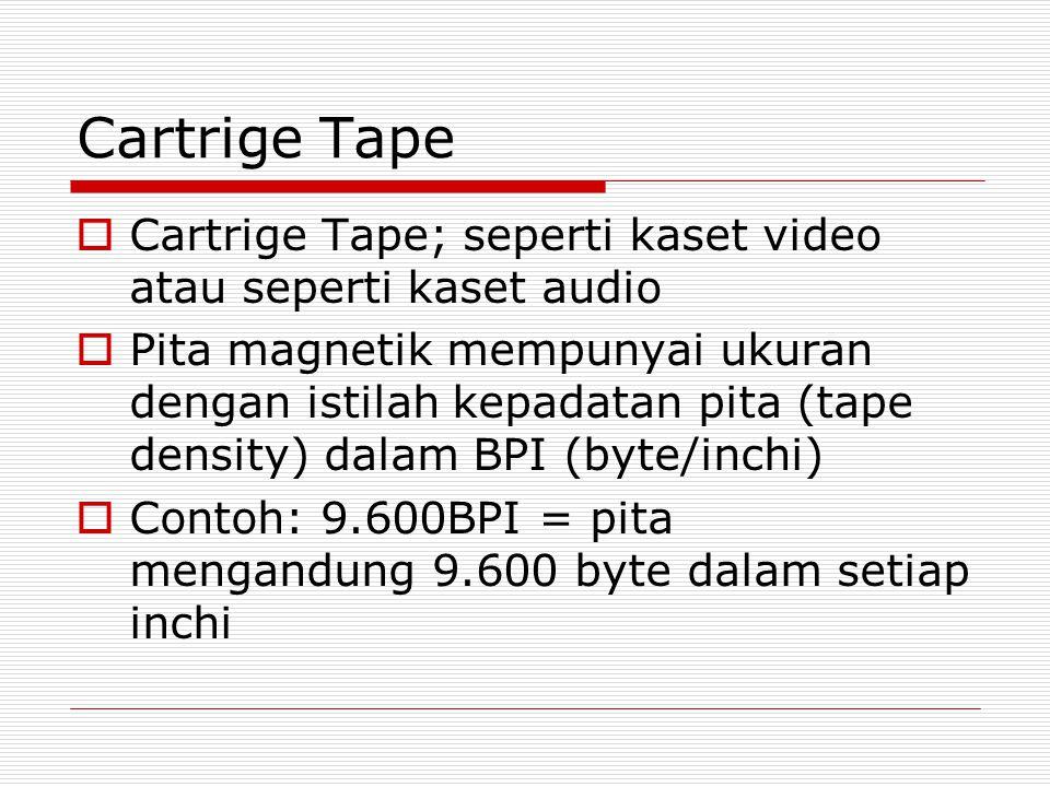 Cartrige Tape  Cartrige Tape; seperti kaset video atau seperti kaset audio  Pita magnetik mempunyai ukuran dengan istilah kepadatan pita (tape densi
