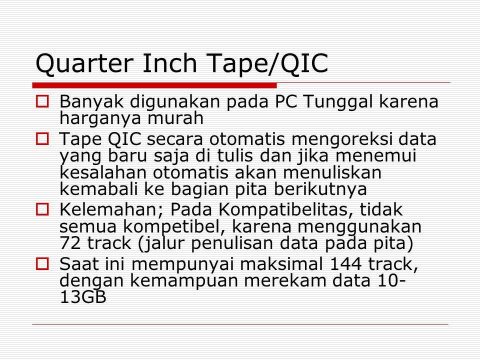 Quarter Inch Tape/QIC  Banyak digunakan pada PC Tunggal karena harganya murah  Tape QIC secara otomatis mengoreksi data yang baru saja di tulis dan