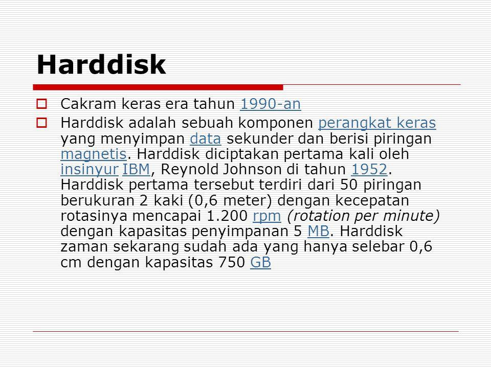 Harddisk  Cakram keras era tahun 1990-an1990-an  Harddisk adalah sebuah komponen perangkat keras yang menyimpan data sekunder dan berisi piringan ma