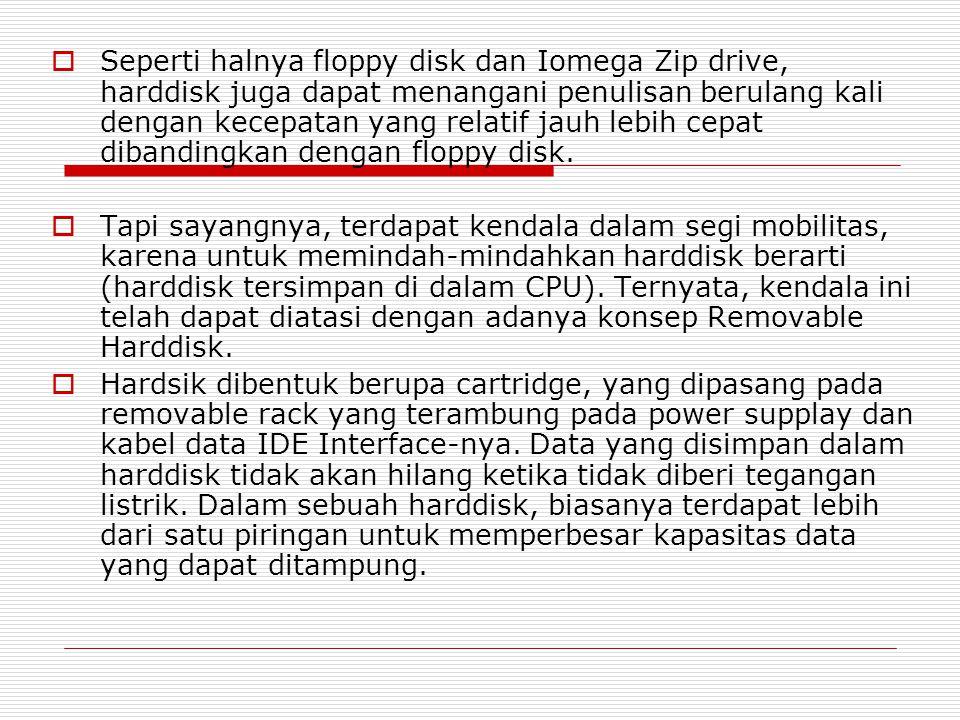  Seperti halnya floppy disk dan Iomega Zip drive, harddisk juga dapat menangani penulisan berulang kali dengan kecepatan yang relatif jauh lebih cepa