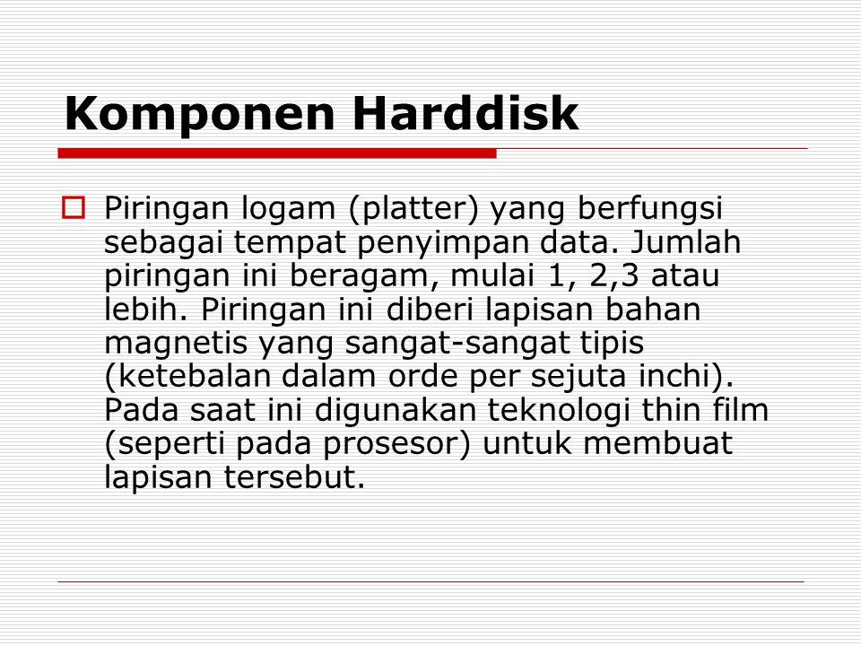 Komponen Harddisk  Piringan logam (platter) yang berfungsi sebagai tempat penyimpan data. Jumlah piringan ini beragam, mulai 1, 2,3 atau lebih. Pirin