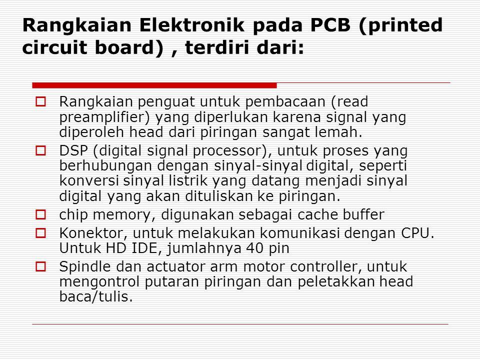  Rangkaian penguat untuk pembacaan (read preamplifier) yang diperlukan karena signal yang diperoleh head dari piringan sangat lemah.  DSP (digital s
